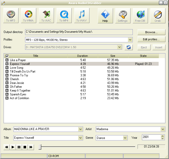 Axara AudioCDGrabber is saving audio tracks from AudioCD into different formats.