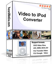 Product box: DVDtoiPod Converters, AviToIpod, Youtube to iPods