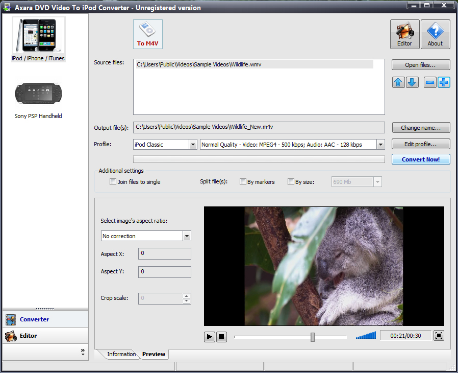 DVD Video to iPod Converter screenshot