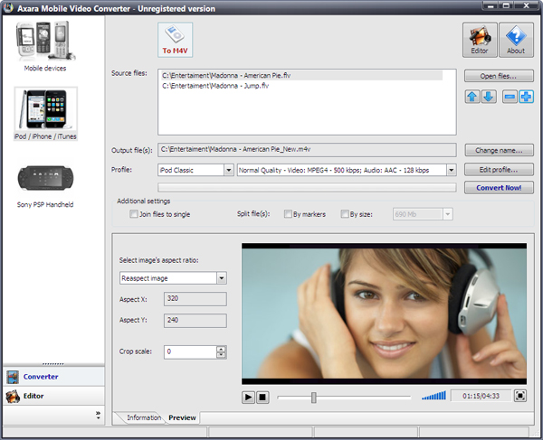 Axara Video To Mobile Phone Converter
