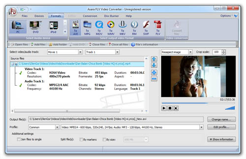 Software for FLV and F4V conversion.