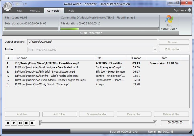FREE download Audio Converter Mp3, WMA, FLAC, VOC, AAC, OGG, AMR